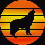 Retro Wolf Silhouette Sun T-Shirt