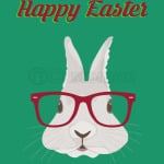 Happy Easter Hipster Bunny Glasses