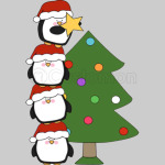 Penguins with christmas tree