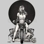Women with the bike