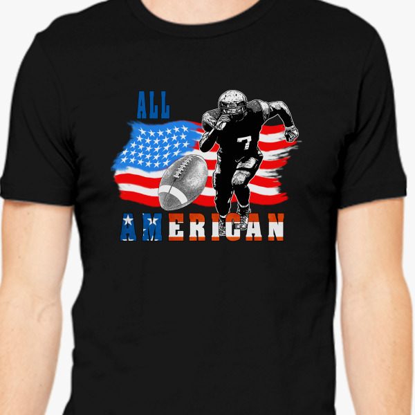 All american football player 5 with ball men 39 s t shirt for Custom t shirts under 5 dollars