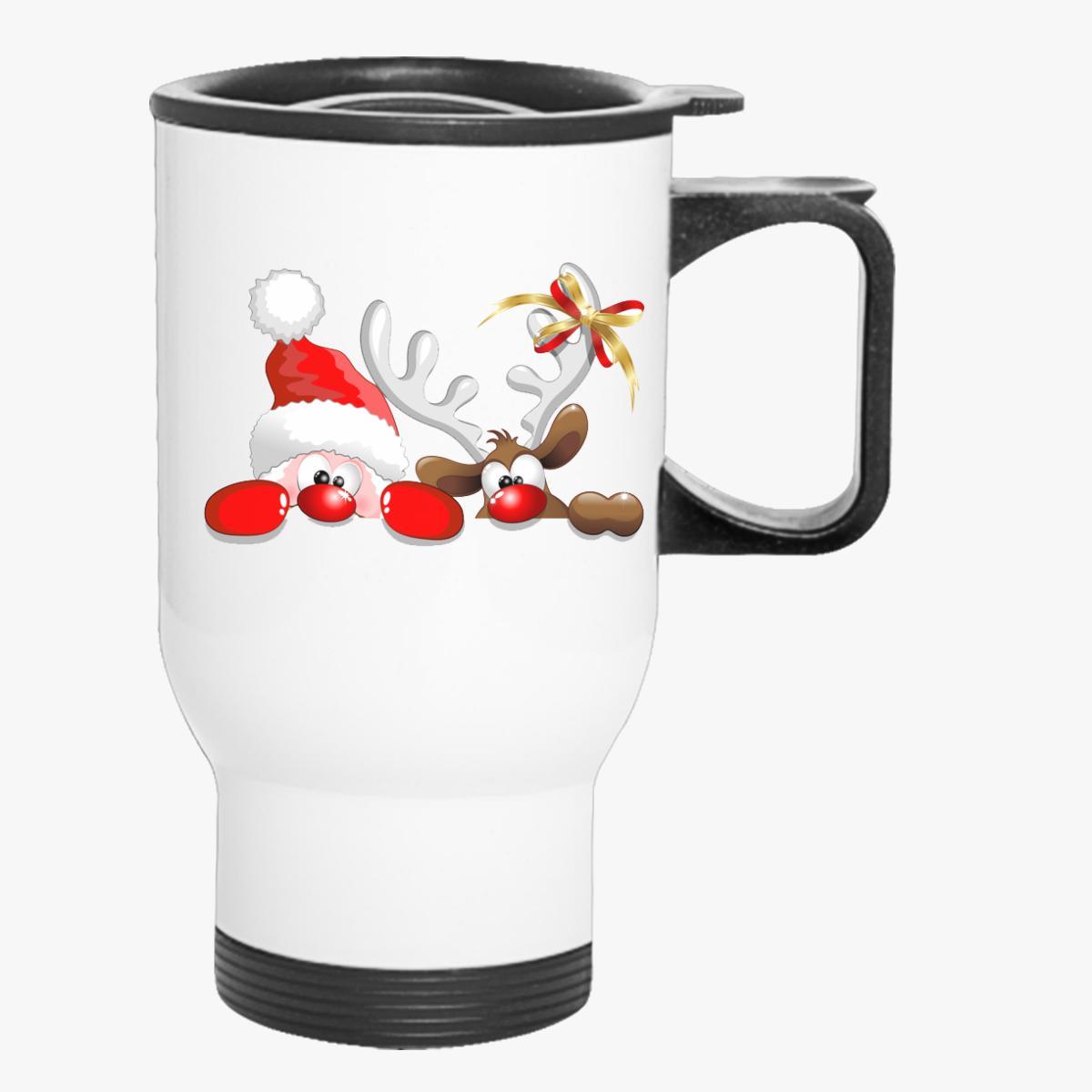 Santa with Deer Travel Mug