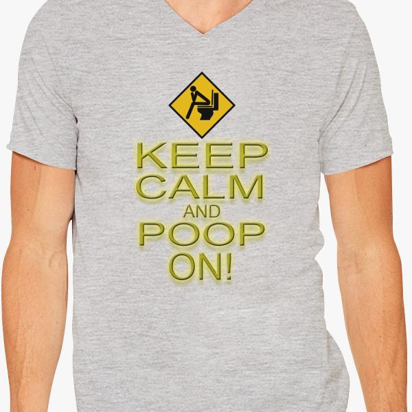 Buy Keep Calm Poop V-Neck T-shirt, 38214
