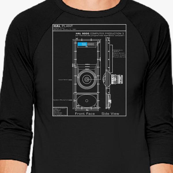 2001 a space odyssey hal 9000 blueprint baseball t shirt customon malvernweather Gallery