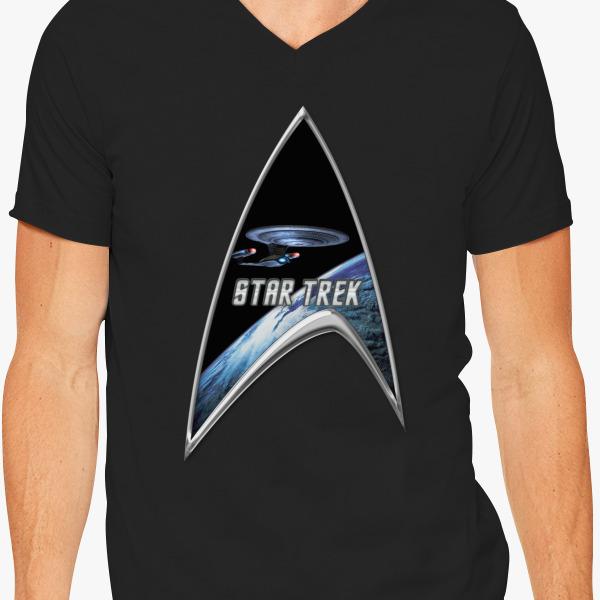 Buy StarTrek Command Silver Signia Enterprise D V-Neck T-shirt, 531148