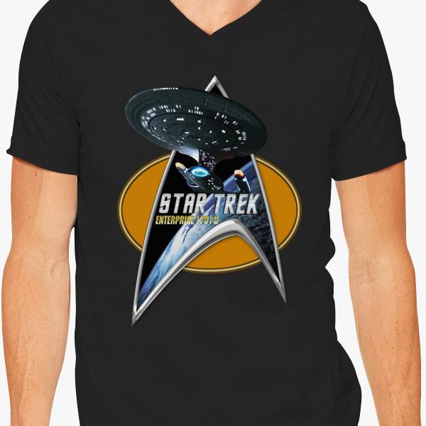 Buy StarTrek Enterprise 1701 D Command Signia Chest 2 V-Neck T-shirt, 545968