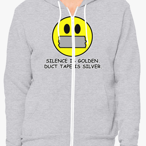 Buy Silence Golden Duct Tape Silver Unisex Zip-Up Hoodie, 9401