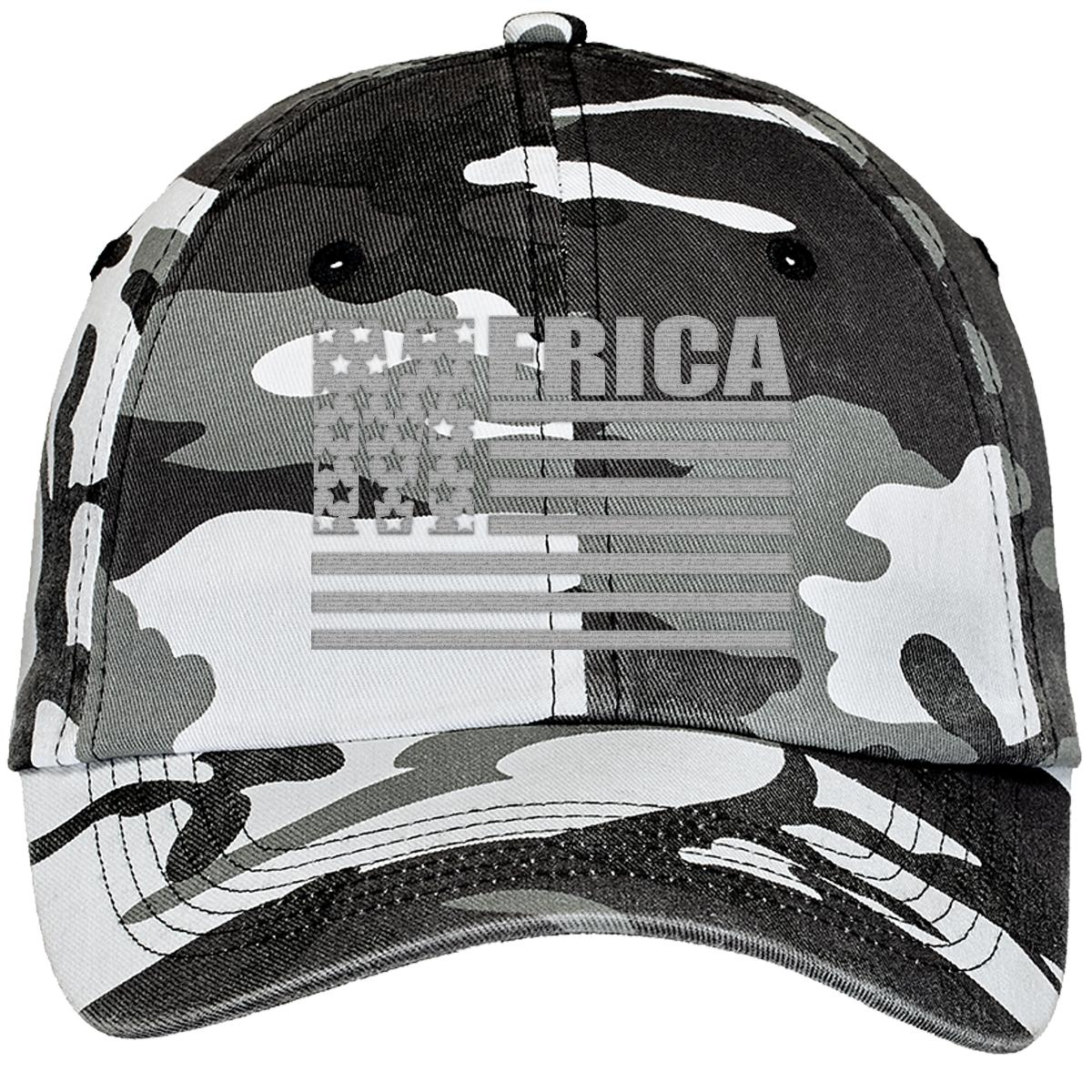 5fcc68d4634 Merica Stars And Stripes Cool United States Of America Flag Camouflage  Cotton Twill Cap (Embroidered)