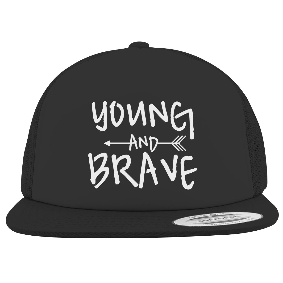 c17f54c28d5 YOUNG AND BRAVE - WHITE Foam Trucker Hat